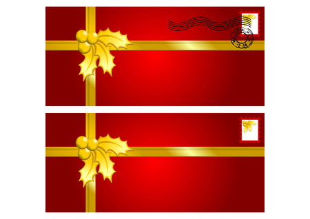 ornamented: Red envelopes ornamented with Christmas gold holly