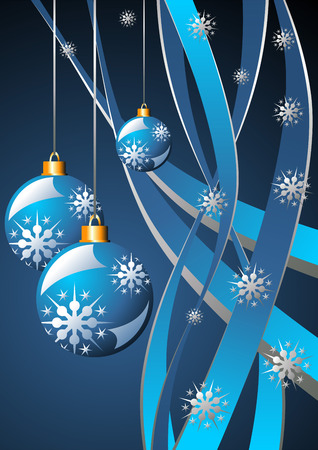 Snow crystals Christmas balls and ribbons over blue Stock Vector - 2137978