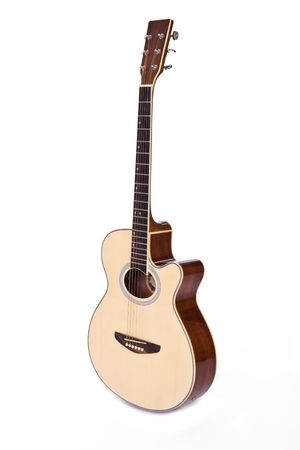 Six string acoustic guitar isolated over white background Stock Photo