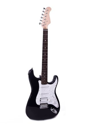 melodies: Six string electric guitar isolated over white background