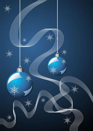 Snow crystals ribbons and Christmas balls over blue photo