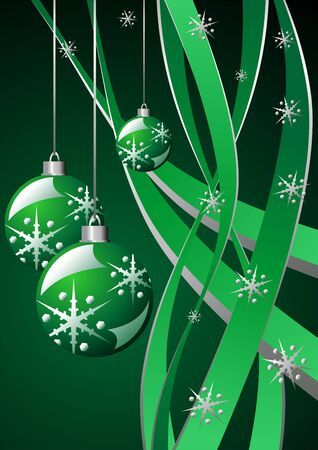 Snow crystals Christmas balls and ribbons over green photo