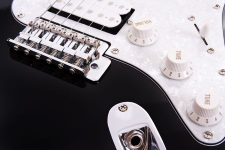 tune: Partial view of a electric guitar Stock Photo