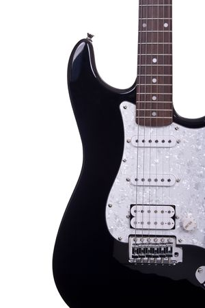 melodies: Partial view of a electric guitar isolated over white background
