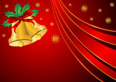 Christmas bells ornamented with holly and ribbon over red background photo