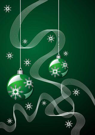 Snow crystals ribbons and Christmas balls over green photo