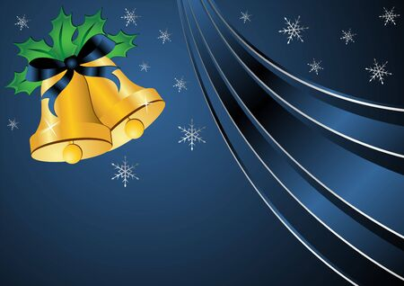 Christmas bells ornamented with holly and ribbon over blue background photo