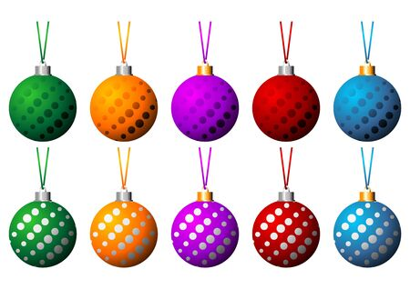 Christmas balls set with ribbons in different colors isolated over white background photo