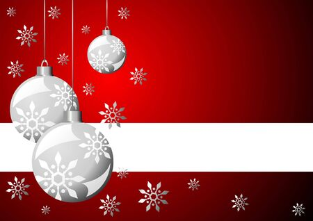 Snow crystals and Christmas balls with copy space over red Stock Photo - 2197503