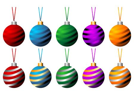 Sriped Christmas balls with ribbons in different colors isolated over white background photo