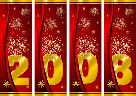 Happy new Year. Fireworks over red background Stock Photo - 2222252