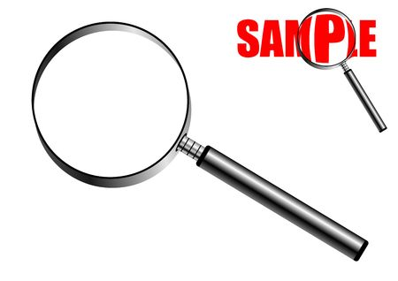 Magnifying glass isolated over white background with small sample