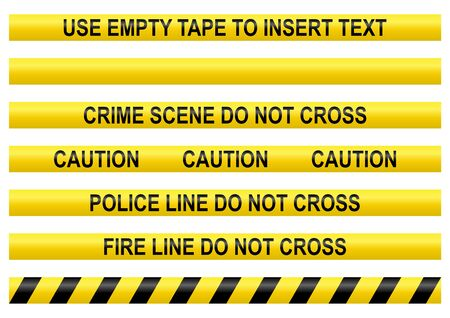 Police line tapes with a blank one to insert your own text Stock Photo
