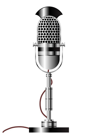 singer with microphone: Vintage radio microphone isolated over white background Illustration