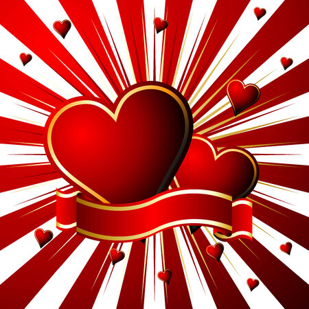 Valentines hearts and ribbon over starry red background Vector
