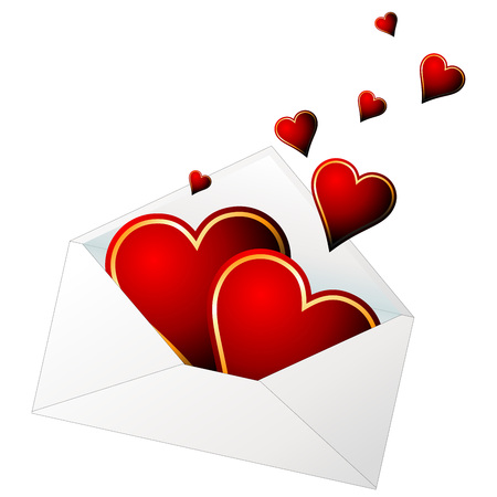 coming out: Hearts in love coming out from a envelope Illustration