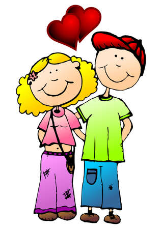 Hand drawn young valentines couple over white background photo