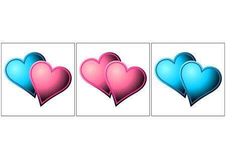 lesbian: H�t�rosexuel, les lesbiennes et les gays m�taphore. Valentines coeurs sur blanc Illustration