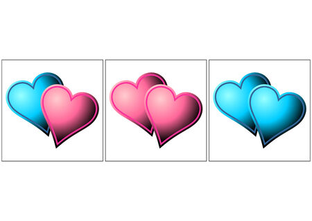 Heterosexual, lesbian and gay metaphor. Valentines hearts over white Vector