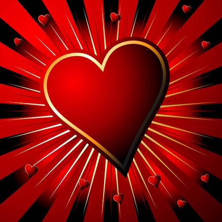 Valentines heart over starry gradient red background Vector