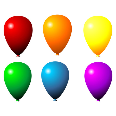 uniformity: Party balloons of different colors isolated over white background
