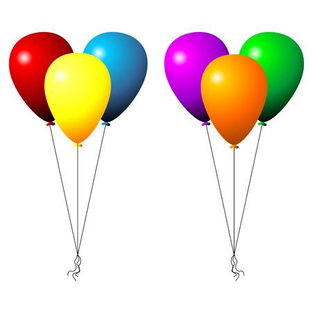 inflar: Dos juegos de globos parte aisladas sobre fondo blanco Vectores