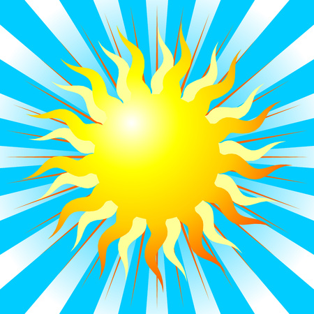 representation: Abstract sun representation over blue striped background Illustration