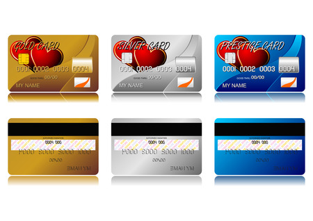 Different credit cards isolated over white background Stock Vector - 2476237