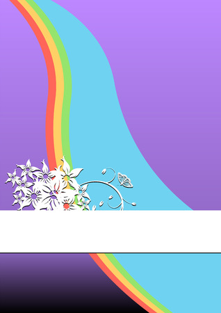 Rainbow ornamented with flowers and copy space available Stock Vector - 2483467