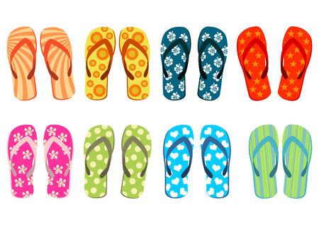 Sandals de la playa. Diverso fondo colorido del blanco del excedente de los flip-flop.