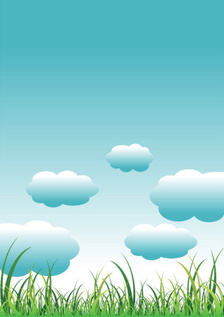 seasonable: Green grass field over cloudy blue sky