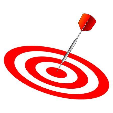 Dart on dartboard center isolated over white background Stock Photo - 2528593