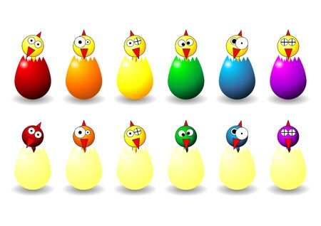 Easter chicks and eggs with different faces colors and positions Stock Photo - 2591958