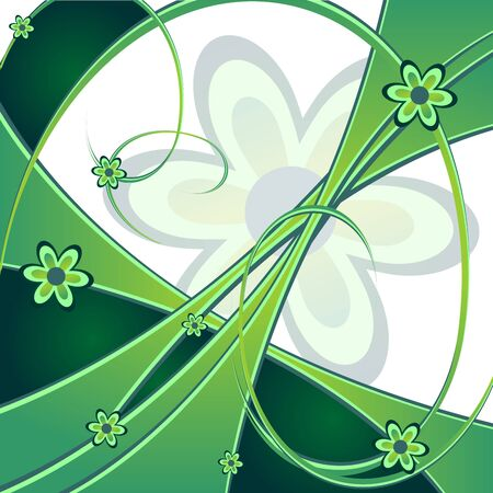 Abstract spring green background ornamented with flowers Stock Photo - 2591960