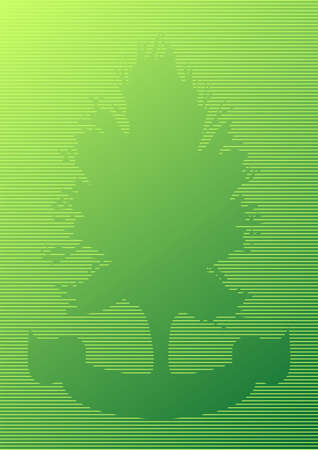 Green striped tree silhouette cutout with ornamental ribbon photo