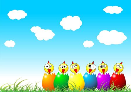 Easter chicks and eggs on grass over cloudy blue sky Stock Photo - 2661908