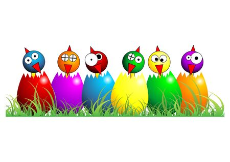 Easter chicks with different faces colors and positions over white photo