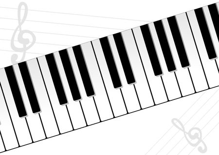 melodies: Piano keyboard with music sheet over white background
