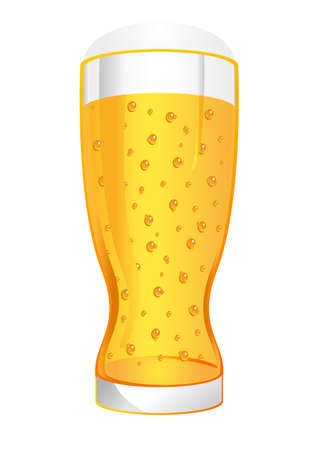 Glass of beer with bubbles and foam over white photo