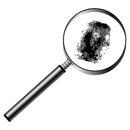 forensics: Magnifying glass with fingerprint isolated over white background Stock Photo