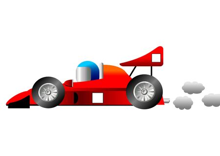 Funny race car isolated over white background photo