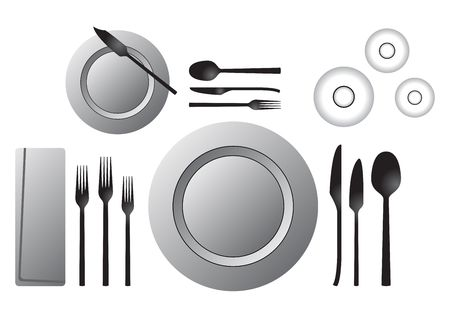 plate setting: Etiquette. Formal table setting isolated over white background