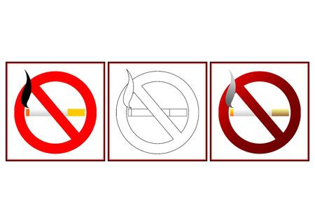 No smoking signs in two different colors and blank template Stock Photo - 2747370