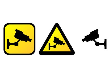 Surveillance camera warning signs over white background photo