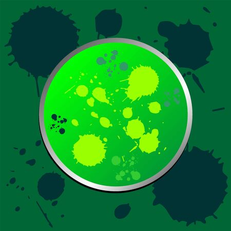 detach: Green promotional grunge sticker with ink spots Stock Photo
