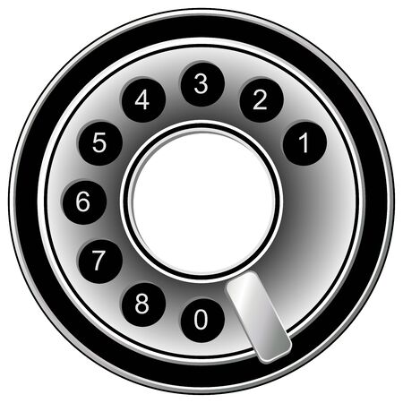 dialing: Old telephone dialing disk isolated over white