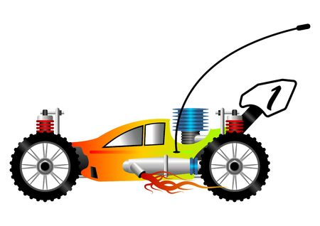 RC buggy car cartoon isolated over white background photo