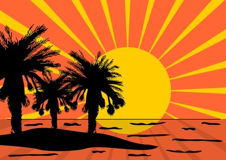 Palm tree silhouettes on island over orange and yellow starry background Stock Photo - 2863748