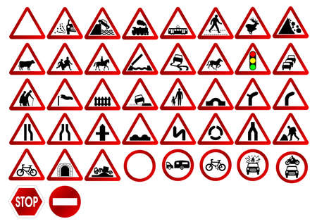 Different traffic signs isolated over white background photo
