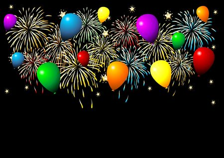 Fireworks and balloons of different colors over black background. photo